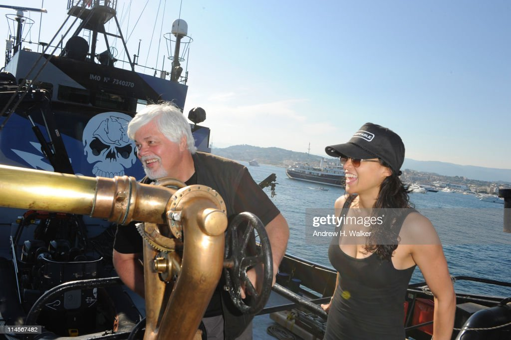 Enviornmental activist <a gi-track='captionPersonalityLinkClicked' href=/galleries/search?phrase=Paul+Watson+-+Ambientalista&family=editorial&specificpeople=15279060 ng-click='$event.stopPropagation()'>Paul Watson</a> and <a gi-track='captionPersonalityLinkClicked' href=/galleries/search?phrase=Michelle+Rodriguez&family=editorial&specificpeople=206182 ng-click='$event.stopPropagation()'>Michelle Rodriguez</a> visit The Sea Shepard's Steve Irwin Vessel during The 64th Annual Cannes Film Festival on May 20, 2011 in Cannes Harbor, France.