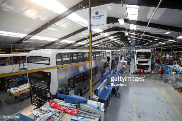 Enviro 400 London buses stand on the production line at the Alexander Dennis Ltd factory in Scarborough UK on Wednesday Sept 13 2017 Manufacturing in...