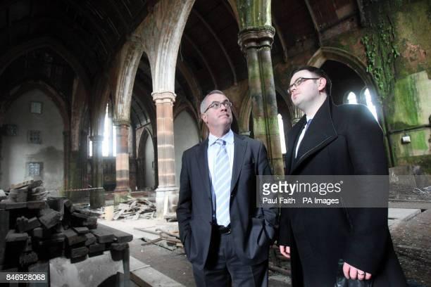 Environment Minister Alex Attwood with Shane Quinn development officer at the Belfast Buildings Preservation Trust inside Carlisle Memorial Methodist...