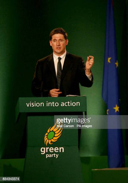 Environment minister Eamon Ryan delivers his speech at the Green Party annual conference at the Fairways hotel in Dundalk co Louth
