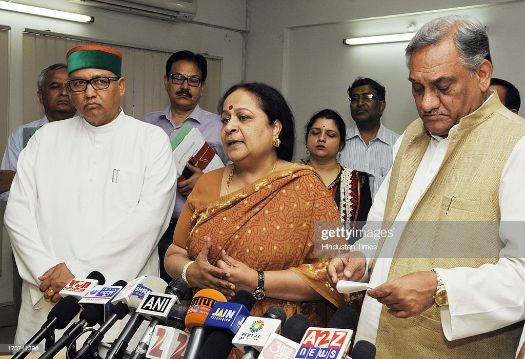 Environment Minister Jayanthi Natarajan and Uttarakhand Chief Minister Vijay Bahuguna interacting with media at state secretariat on July 17, 2013 in Dehradun, India. An Uttarakhand government release said 1,710 roads out of 2,092 damaged in the devastating floods have been reopened to traffic. Environment Minister said that a local office of the Ministry of Environment and Forests will be opened in Dehradun for expeditious transfer of land of up to five hectare for rebuilding of damaged infrastructure.