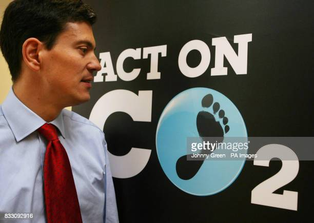 Environment Secretary David Miliband at the launch of an online calculator that enables people to work out their carbon footprint using...