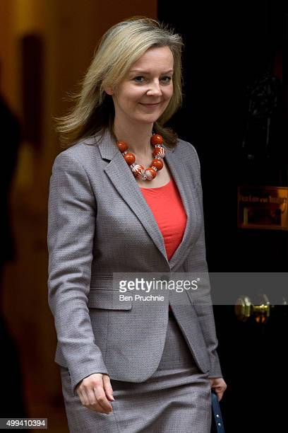 Environment Secretary Liz Truss departs Downing Street after a cabinet meeting on December 1 2015 in London England Prime Minister David Cameron will...