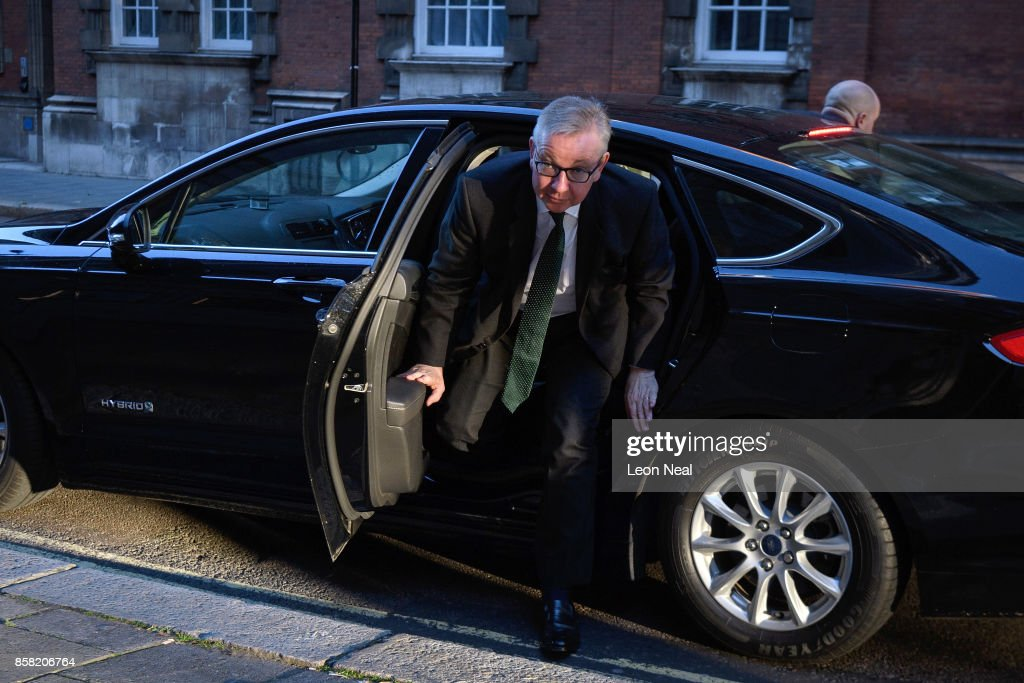 Environment Secretary Michael Gove arrives at a television studio in Westminster on October 6, 2017 in London, England. Mr Gove was appearing on TV to show his support for British Prime Minister Theresa May but former Tory Party Chairman Grant Schapps has publicly stated that a number of Conservative Ministers have reached the decision that Prime Minister May should resign, causing further splits in the party.