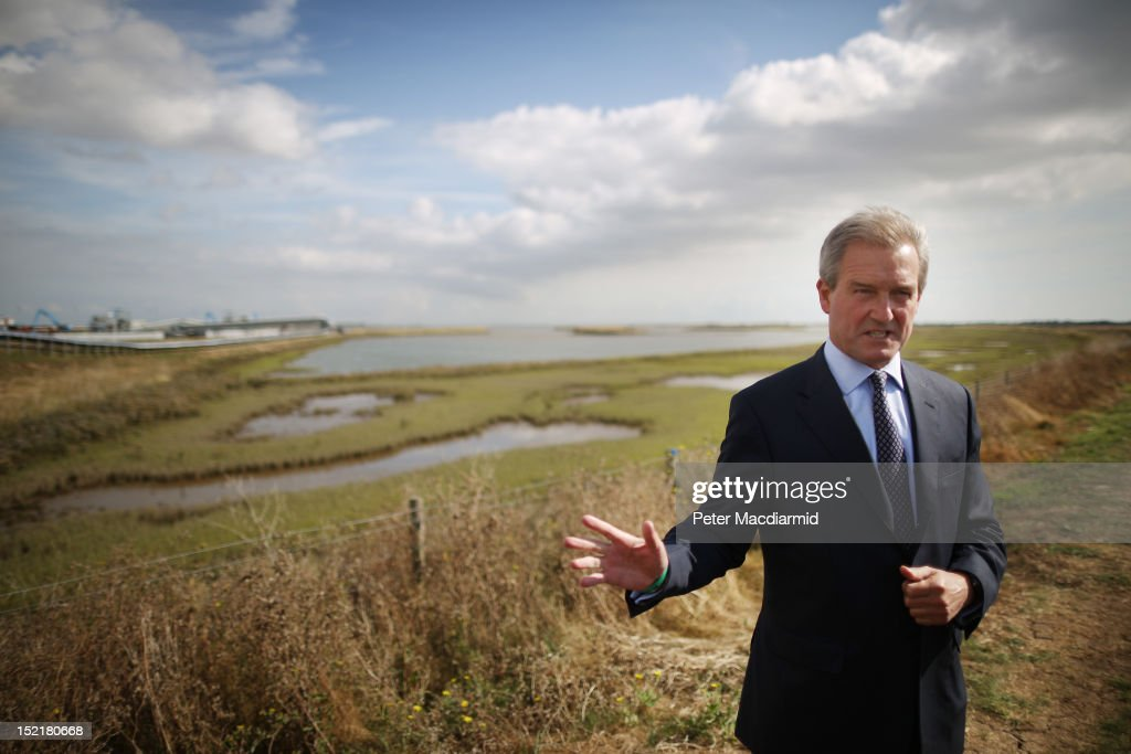 Environment Secretary Owen Paterson talks to reporters on Wallasea Island on September 17 2012 near Rochford England The Crossrail railway tunnel...
