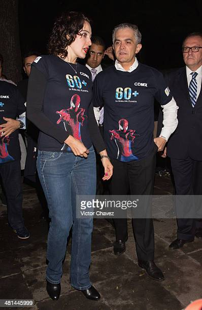 Environment Secretary Tania Muller Garcia and Mexico City Mayor Miguel Angel Mancera attend the Earth Hour the global movement organized By WWF on...
