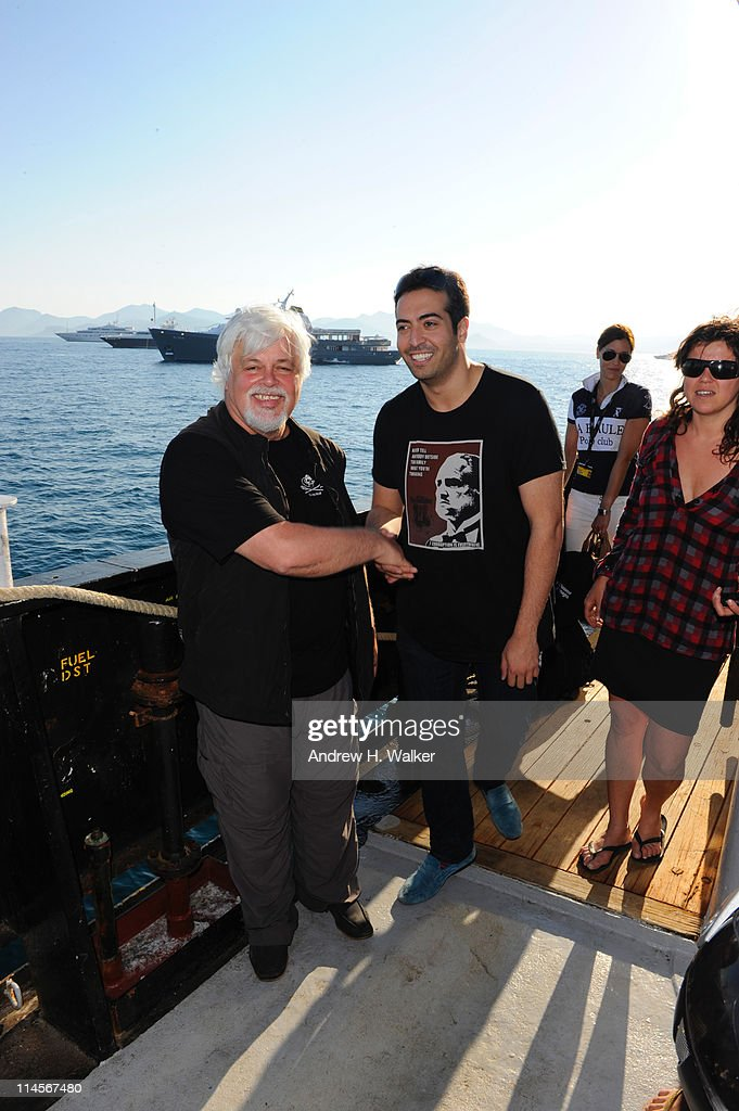 Environmental activist <a gi-track='captionPersonalityLinkClicked' href=/galleries/search?phrase=Paul+Watson+-+Ambientalista&family=editorial&specificpeople=15279060 ng-click='$event.stopPropagation()'>Paul Watson</a> and Mohammed Al Turki visits The Sea Shepard's Steve Irwin Vessel during The 64th Annual Cannes Film Festival on May 20, 2011 in Cannes Harbor, France.