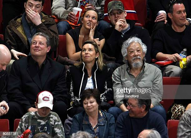 Environmental activists Al Gore and David Suzuki attend the Montreal Canadiens game against the Toronto Maple Leafs in the final regular season game...