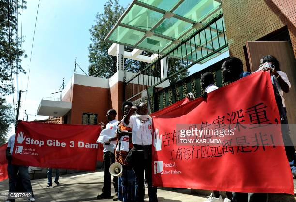 Environmental group 'Friends of Lake Turkana' protest outside the Chinese Embassy in Nairobi Kenya on February 20 2011 against the involvement of...