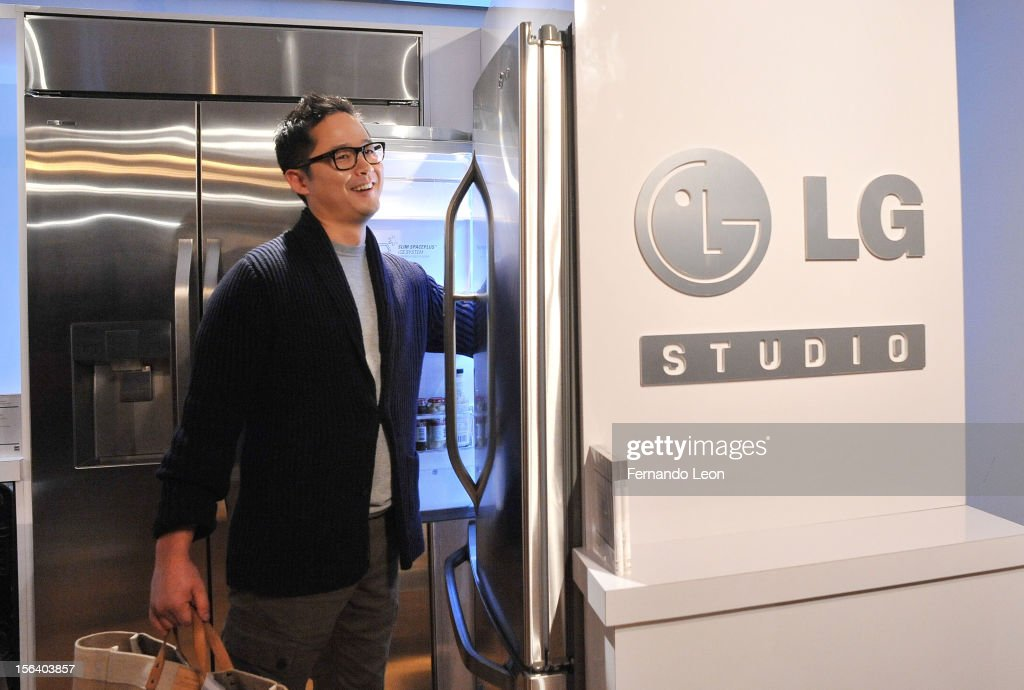 Environmental lifestyle expert Danny Seo explores the LG Studio Refrigerator at LG's and SHFT's Evening of Design Event at Museum of Arts and Design on November 14, 2012 in New York City.