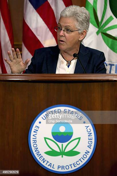 S Environmental Protection Agency Administrator Gina McCarthy announces new regulations for power plants at EPA headquarters June 2 2014 in...