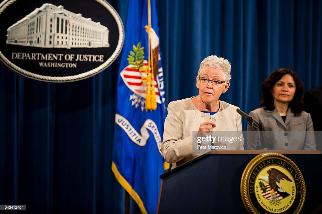 Environmental Protection Agency Administrator Gina McCarthy speaks during a press conference at the Department of Justice on June 28, 2016 in Washington, DC. Volkswagen has agreed to nearly $15 billion in a settlement over emissions cheating on its diesel vehicles.