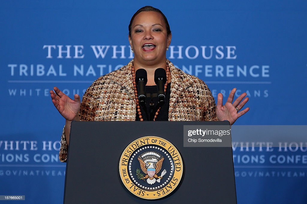 Environmental Protection Agency Administrator Lisa Jackson addresses the White House Tribal Nations Conference at the Department of Interior December 5, 2012 in Washington, DC. President Barack Obama and cabinet secretaries from his administration are scheduled to address the conference, which included breakout sessions on topics like 'Protecting Our Communities: Law Enforcement and Disaster Relief,' 'Building Healthy Communities, Excellence in Education and Native American Youth,' and other subjects.