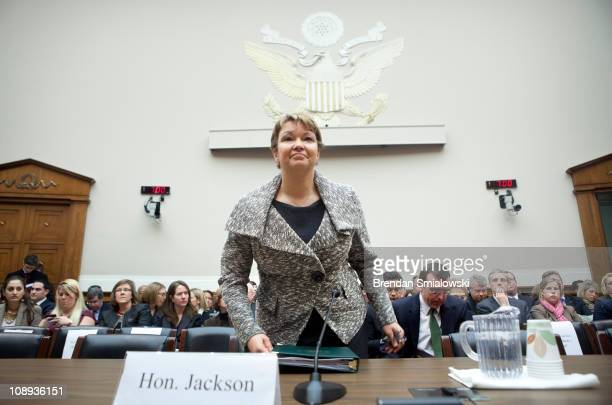 Environmental Protection Agency Administrator Lisa P Jackson arrives for a hearing of the House Energy and Commerce Committee's Energy and Power...