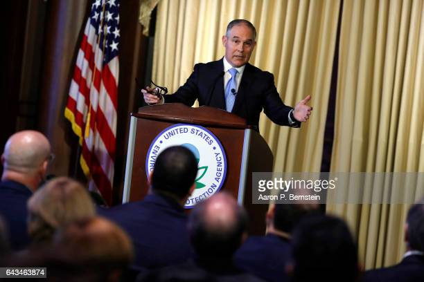 Environmental Protection Agency Administrator Scott Pruitt address employees at the agency's headquarters February 21 2017 in Washington DC Pruitt...