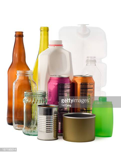 Environmental Recycling Isolated—Glass Bottles, Jars, Metal Cans, Plastic Containers
