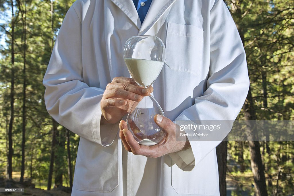 Environmental scientist in the woods : Stock Photo