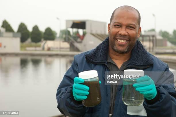 Environmentalist at sewage treatment plant