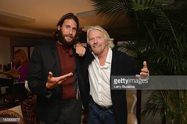Environmentalist David De Rothschild and entrepreneur and philanthropist Richard Branson attend the Conde Nast Traveler Celebration of 'The...