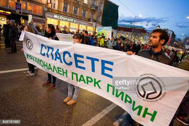 Environmentalists marched in front of the Ministry of Environment and Water in Sofia against the controversial plan for the National Park...
