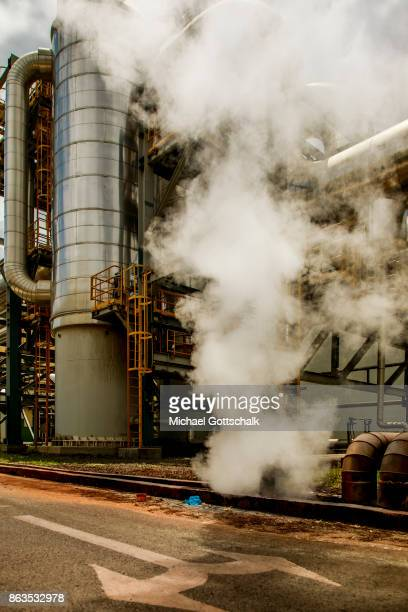 Environmentally friendly and renewable energy generation in the KenGen or Kenya General Energy Olkaria geothermal power station IV in Hells´s Gate...