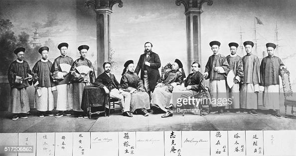 Envoy Extraordinary and minister plenipotentiary Anson Burlingame the Americanborn Chinese ambassador to America with his retinue including two...