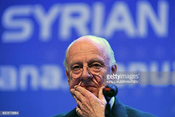UN envoy for Syria Staffan de Mistura gives a press conference following Syria peace talks in Astana on January 24 2017 / AFP / Kirill KUDRYAVTSEV