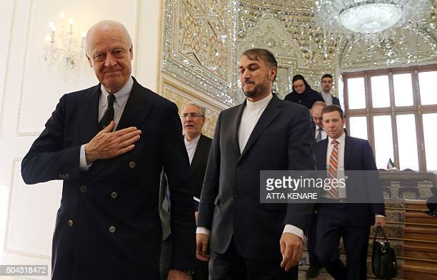 UN Envoy to Syria Staffan de Mistura and Iran's Deputy Foreign Minister for Arab and African Affairs Hossein AmirAbdollahian arrive to meet with...