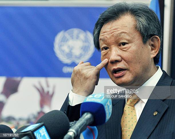 UN envoy to the divided west African country Younjin Choi speaks during a press conference on November 29 2010 in Abidjan a day after Ivory Coast's...