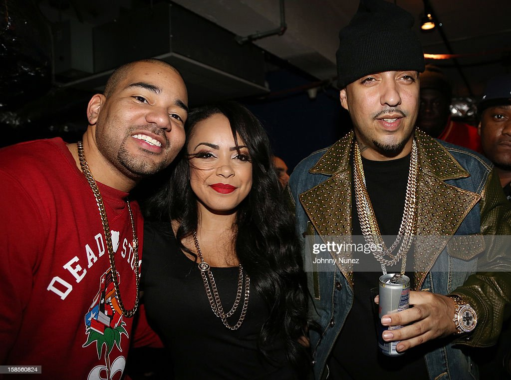 DJ Envy, Lore'l, and <a gi-track='captionPersonalityLinkClicked' href=/galleries/search?phrase=French+Montana&family=editorial&specificpeople=7131467 ng-click='$event.stopPropagation()'>French Montana</a> attend 'T.I. In Concert' at Best Buy Theater on December 18, 2012 in New York, United States.