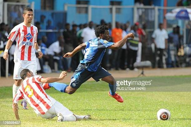 Enyimba's attacker Josiah Maduabuchi tries to advance into the half of Wydad Casablanca of Morocco during the African Championships League second leg...