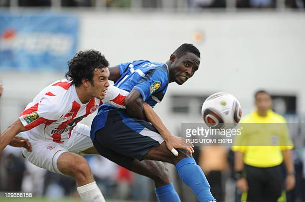 Enyimba's unidentified attacker tries to head into the net of Wydad Casablanca during the African Championships League second leg semi final match in...
