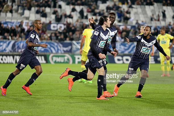 Enzo Crivelli for FC Girondins de Bordeaux reacts after scoring the 11 during the French Cup match between FC Girondins de Bordeaux and FC Nantes at...