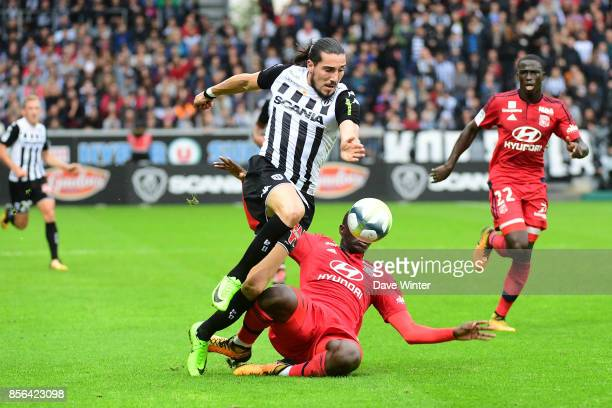 Enzo Crivelli of Angers and Mouctar Diakhaby of Lyon during the Ligue 1 match between Angers SCO and Olympique Lyonnais at Stade Raymond Kopa on...