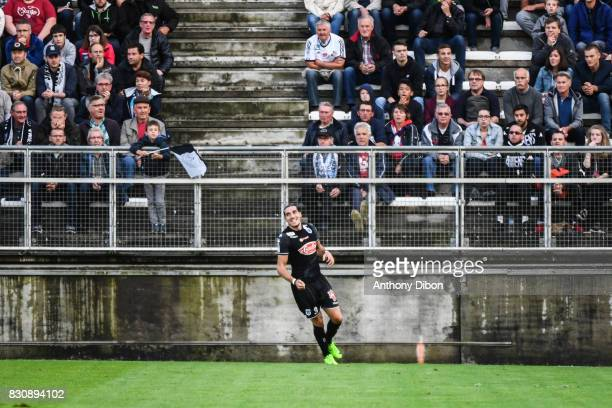 Enzo Crivelli of Angers celebrates his goal during the Ligue 1 match between Amiens SC and Angers SCO at Stade de la Licorne on August 12 2017 in...