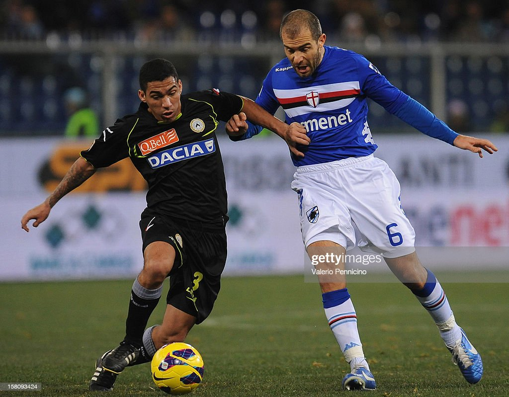 Enzo Maresca (R) of UC Sampdoria competes with Allan of Udinese Calcio during the Serie A match between UC Sampdoria and Udinese Calcio at Stadio Luigi Ferraris on December 10, 2012 in Genoa, Italy.