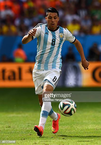 Enzo Perez of Argentina controls the ball during the 2014 FIFA World Cup Brazil Quarter Final match between Argentina and Belgium at Estadio Nacional...