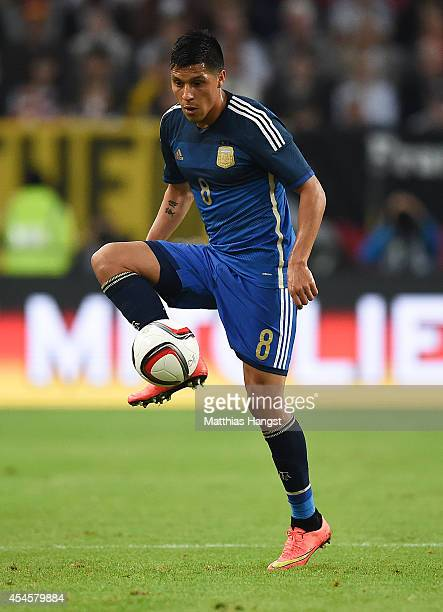 Enzo Perez of Argentina controls the ball during the international friendly match between Germany and Argentina at EspritArena on September 3 2014 in...