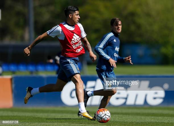 Enzo Perez of Argentina drives the ball during a training session at Argentine Football Association 'Julio Humberto Grondona' training camp on...