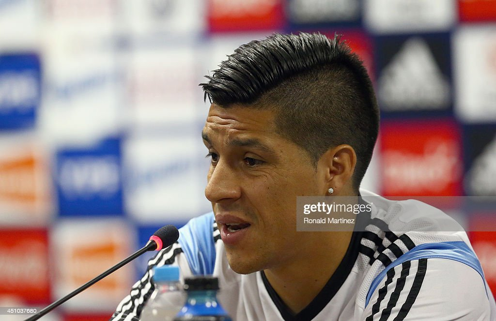<a gi-track='captionPersonalityLinkClicked' href=/galleries/search?phrase=Enzo+Perez&family=editorial&specificpeople=3275855 ng-click='$event.stopPropagation()'>Enzo Perez</a> of Argentina during a press conference at Cidade do Galo on June 22, 2014 in Vespasiano, Brazil.