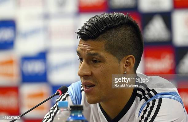 Enzo Perez of Argentina during a press conference at Cidade do Galo on June 22 2014 in Vespasiano Brazil