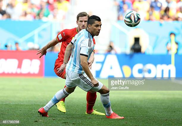 Enzo Perez of Argentina in action during the 2014 FIFA World Cup Brazil Quarter Final match between Argentina and Belgium at Estadio Nacional on July...