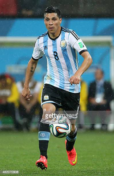 Enzo Perez of Argentina in action during the 2014 FIFA World Cup Brazil Semi Final match between Netherlands and Argentina at Arena de Sao Paulo on...