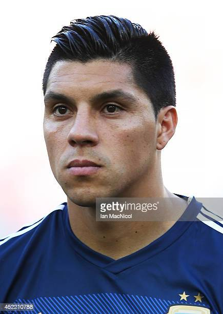 Enzo Perez of Argentina looks on during the anthems during the 2014 World Cup final match between Germany and Argentina at The Maracana Stadium on...