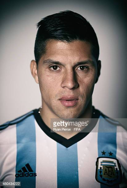 Enzo Perez of Argentina poses during the official FIFA World Cup 2014 portrait session on June 10 2014 in Belo Horizonte Brazil