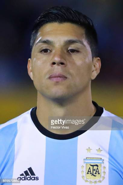 Enzo Perez of Argentina poses prior a match between Ecuador and Argentina as part of FIFA 2018 World Cup Qualifiers at Olimpico Atahualpa Stadium on...