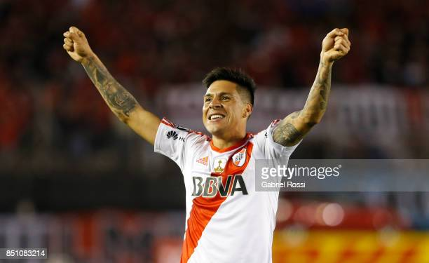 Enzo Perez of River Plate celebrates after scoring the eighth goal of his team during a second leg match between River Plate and Wilstermann as part...