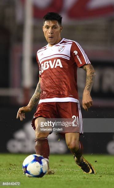 Enzo Perez of River Plate kicks the ball during a match between River Plate and Banfield as part of Superliga 2017/18 at Monumental Stadium on...