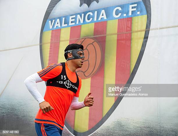 Enzo Perez of Valencia arrives for a Valencia CF training session ahead of Wednesday's Copa del Rey Semi Final second leg match between Valencia CF...