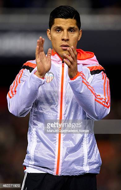 Enzo Perez of Valencia greets the public before the La Liga match between Valencia CF and Sevilla FC at Estadi de Mestalla on January 25 2015 in...